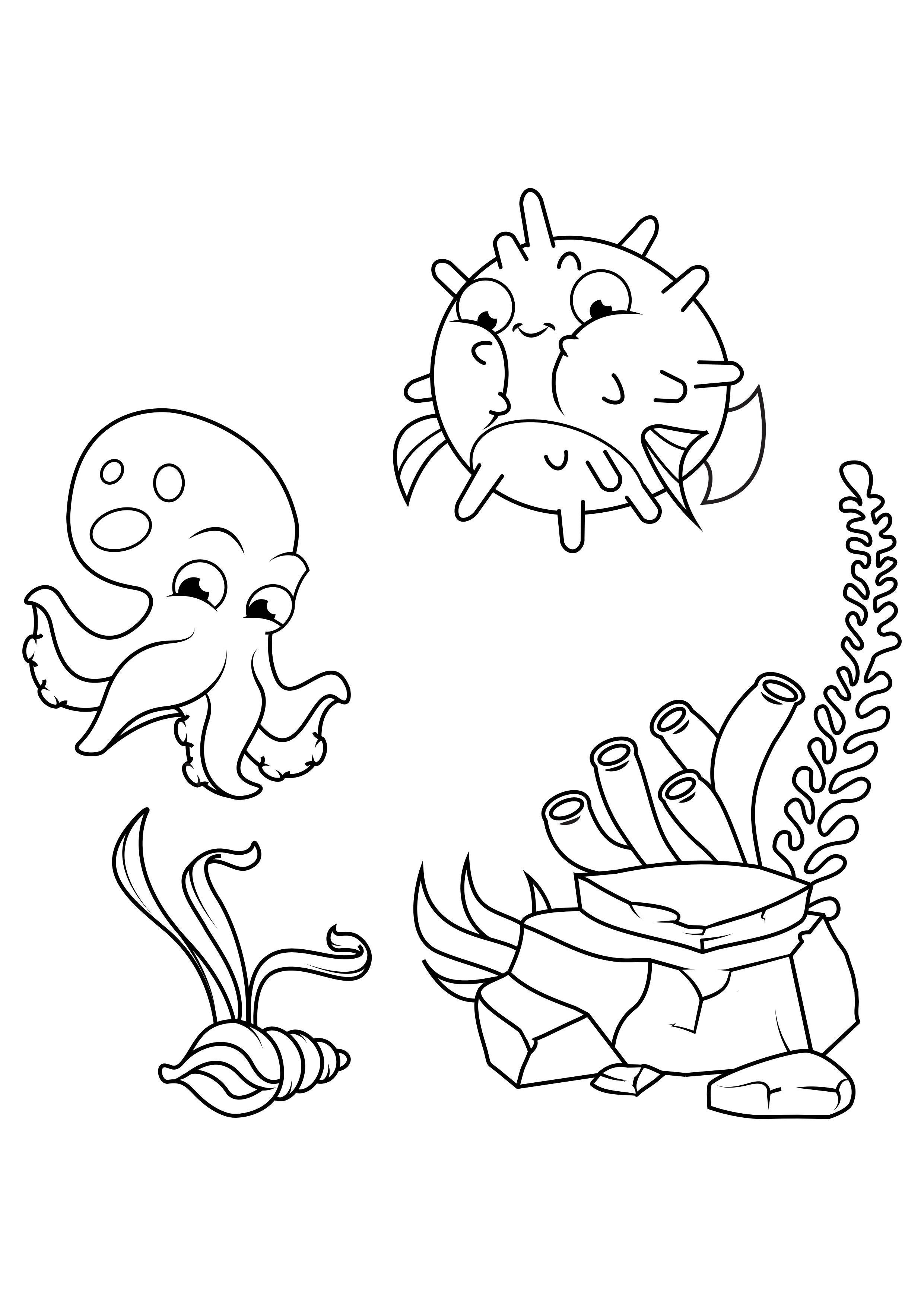 Malvorlage Tintenfisch- und Kugelfische schwimmen herum