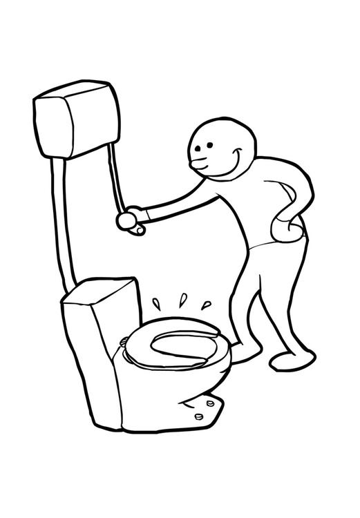 Malvorlage Toilette spülen | Ausmalbild 15019.