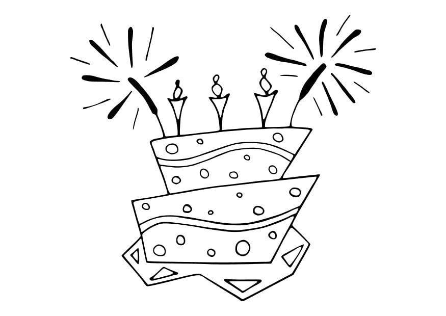 Malvorlage Torte   Ausmalbild 10698.