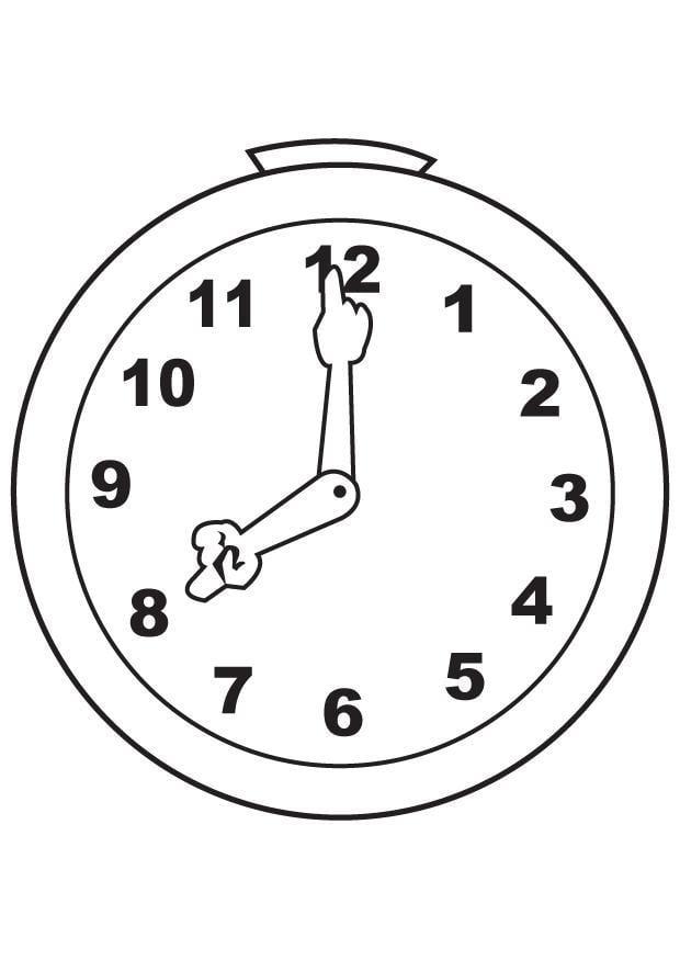 Malvorlage Uhr | Ausmalbild 7100.