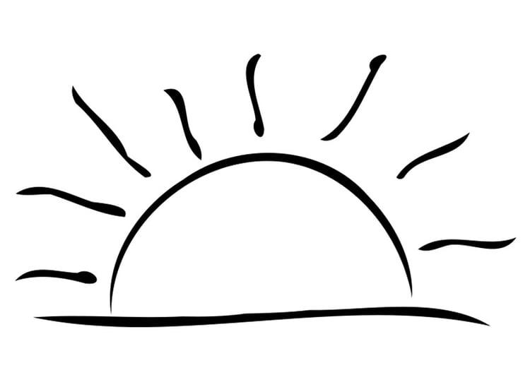 Malvorlage untergehende Sonne | Ausmalbild 19324.