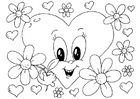 Malvorlage  Valentinsblumen