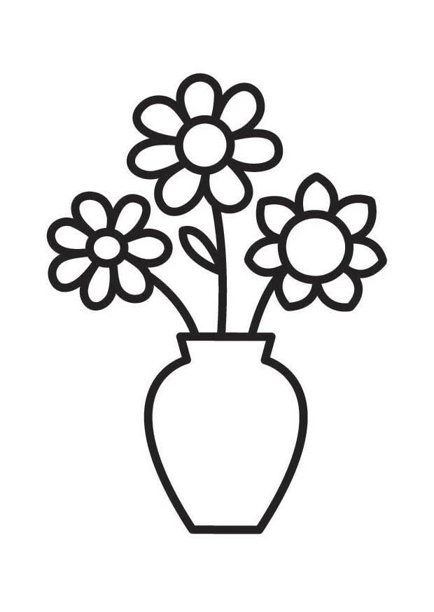 malvorlage vase mit blumen  ausmalbild 18334