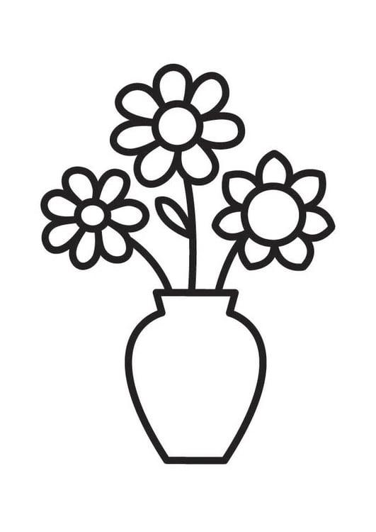 Malvorlage Vase mit Blumen | Ausmalbild 18334.