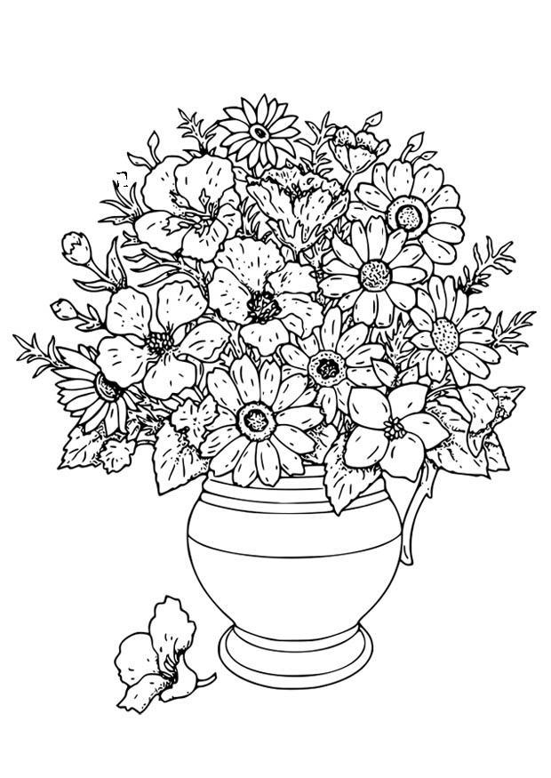 malvorlage vase mit wilden blumen  kostenlose