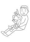 Malvorlage  Vater und Kind