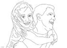 Malvorlage  Vater und Tochter