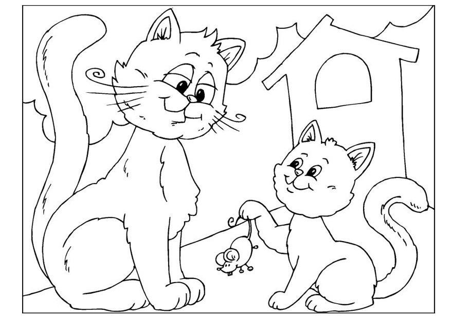 Malvorlage Vatertag - Katzen   Ausmalbild 25890.