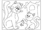 Malvorlage  Vatertag - Katzen