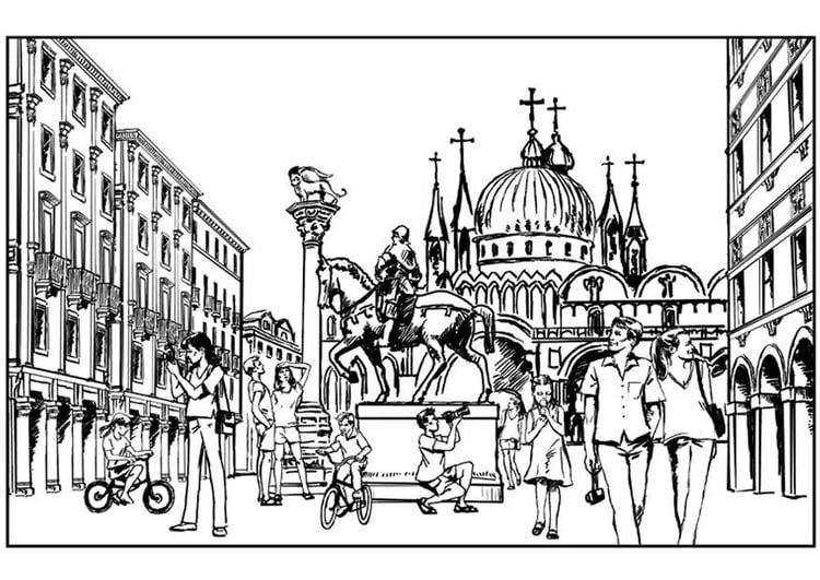 Malvorlage Venedig - Italien | Ausmalbild 7562.