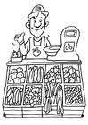 Malvorlage  Verkäufer Gemüsegeschäft