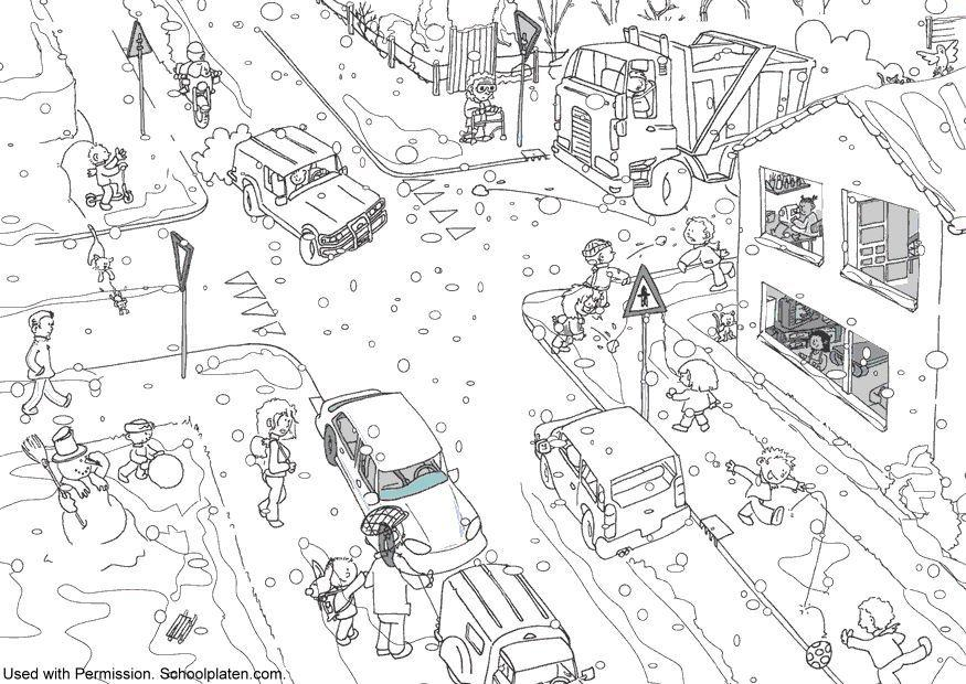 Malvorlage Verkehr im Winter | Ausmalbild 11649.