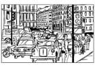 Malvorlage  Verkehr in der Stadt