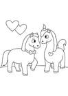 Malvorlage  verliebte Pferde