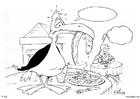 Malvorlage  Vogel im Restaurant