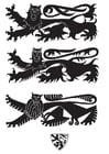 Malvorlage  Wappen mit Löwen