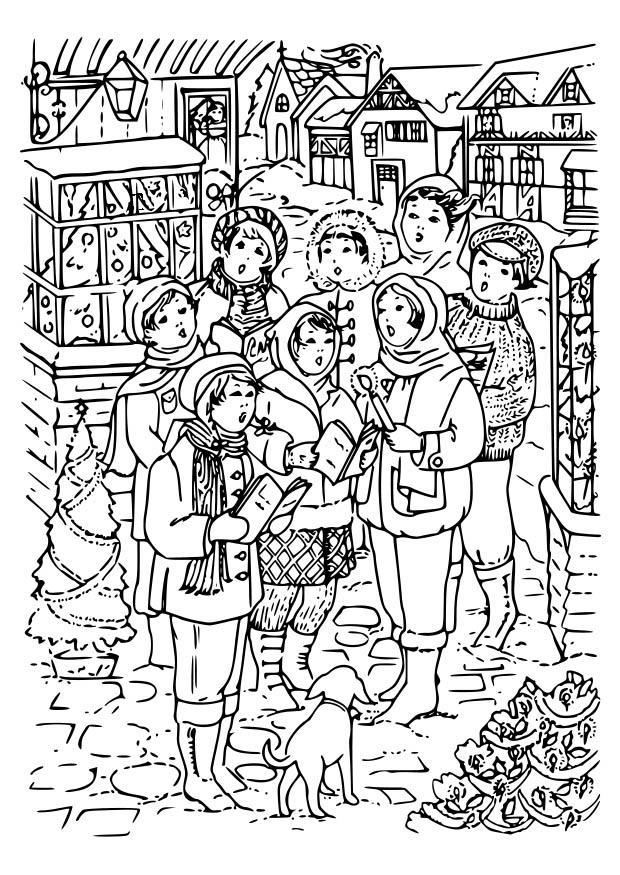 Malvorlage Weihnachtslied singen | Ausmalbild 18652.