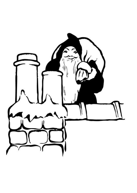 malvorlage weihnachtsmann auf dem dach  kostenlose