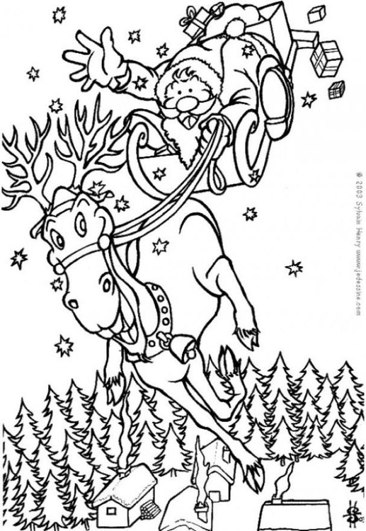 malvorlage weihnachtsmann auf dem weg - kostenlose