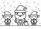 Malvorlage  Weihnachtsmann mit Elfen
