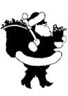 Malvorlage  Weihnachtsmann mit Geschenken