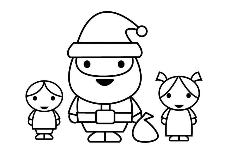 malvorlage weihnachtsmann mit kindern  kostenlose
