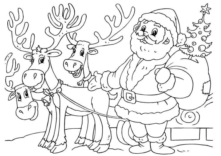 Malvorlage Weihnachtsmann Mit Rentieren Kostenlose