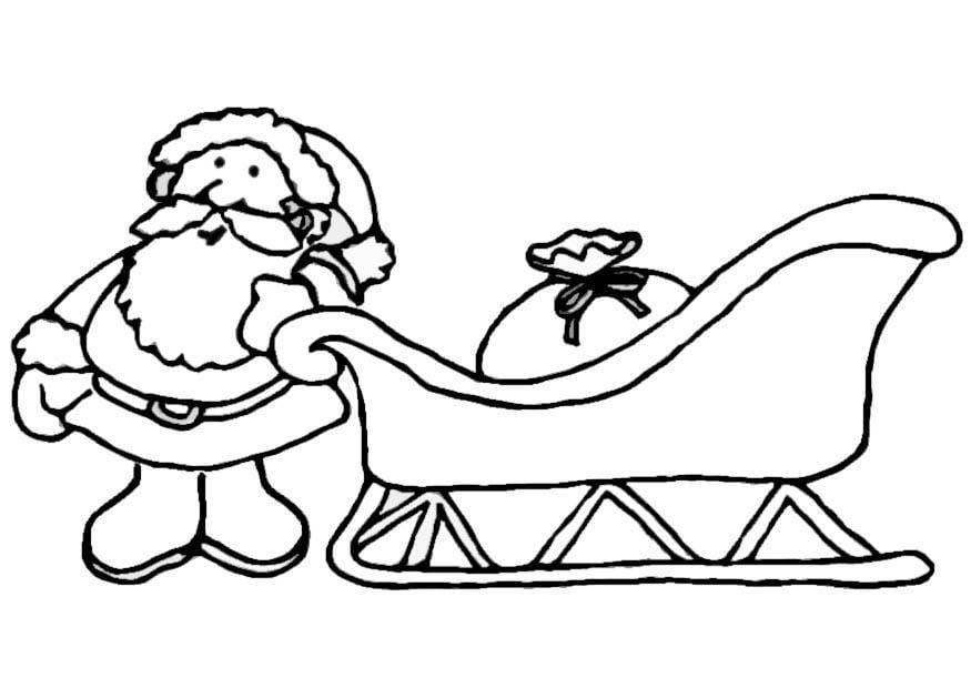 malvorlage weihnachtsmann mit schlitten  kostenlose