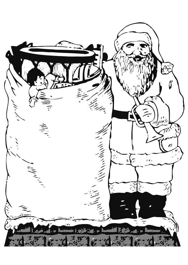 malvorlage weihnachtsmann mit spielzeug  kostenlose