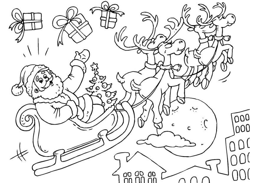 Malvorlage Weihnachtsmann Und Schlitten Ausmalbild 23379 Images