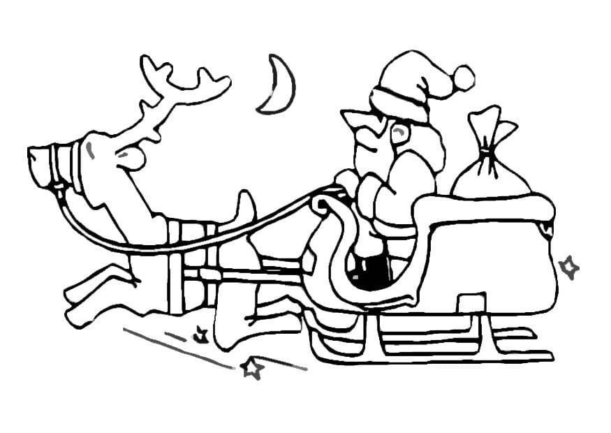 malvorlage weihnachtsmann und schlitten  ausmalbild 8641
