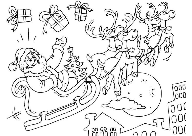 Malvorlage Weihnachtsmann Und Schlitten Kostenlose