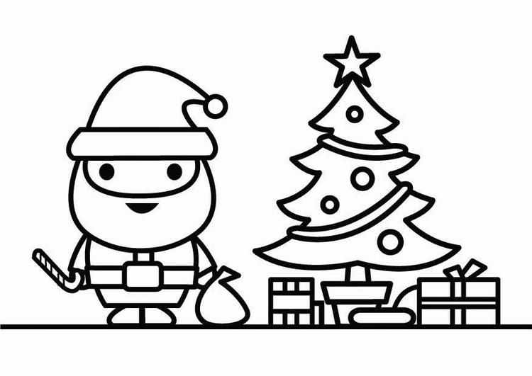 Malvorlage Weihnachtsmann Und Weihnachtsbaum Kostenlose
