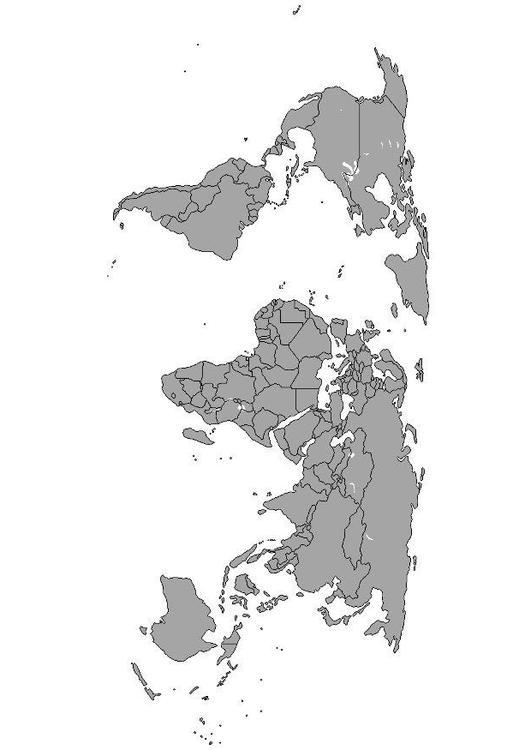 Malvorlage Weltkarte mit Grenzen  Ausmalbild 8091