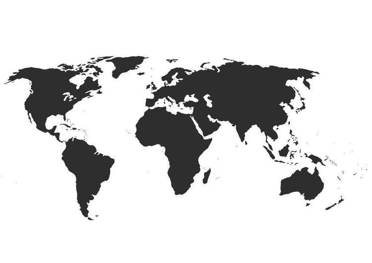 Malvorlage Weltkarte ohne Grenzen | Ausmalbild 8300.