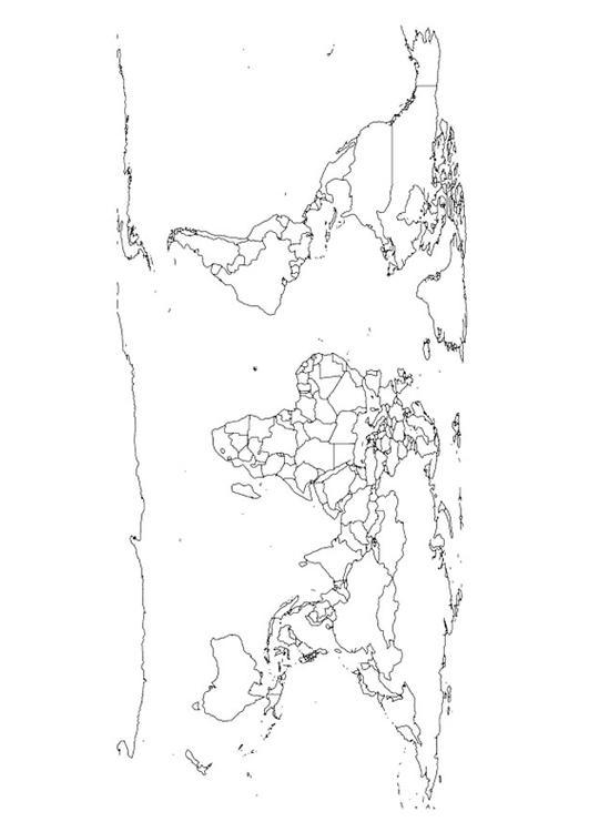 Malvorlage Weltkarte | Ausmalbild 27645.