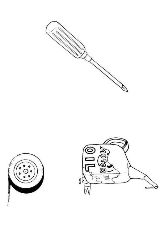 Malvorlage Werkzeug Autowerkstatt