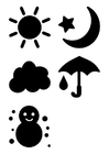 Malvorlage  Wetter Piktogramm