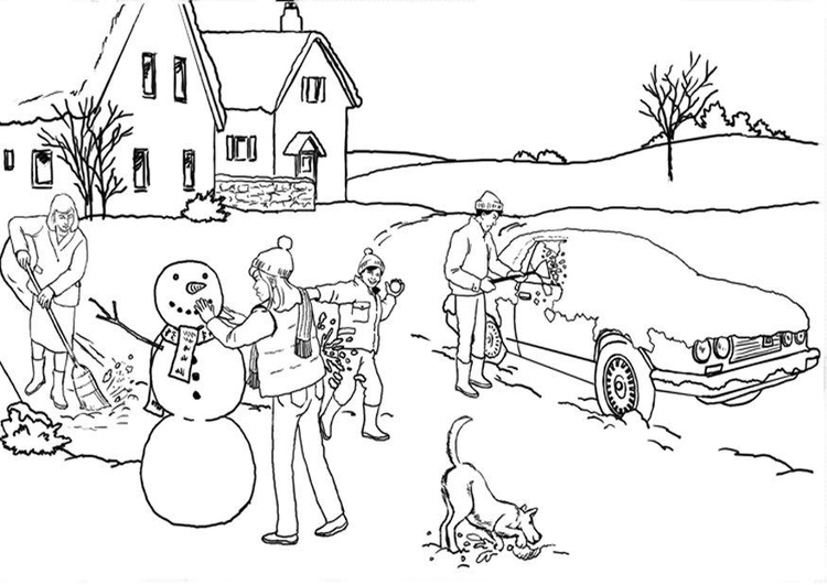 Malvorlage Winter Schnee Ausmalbild 20456