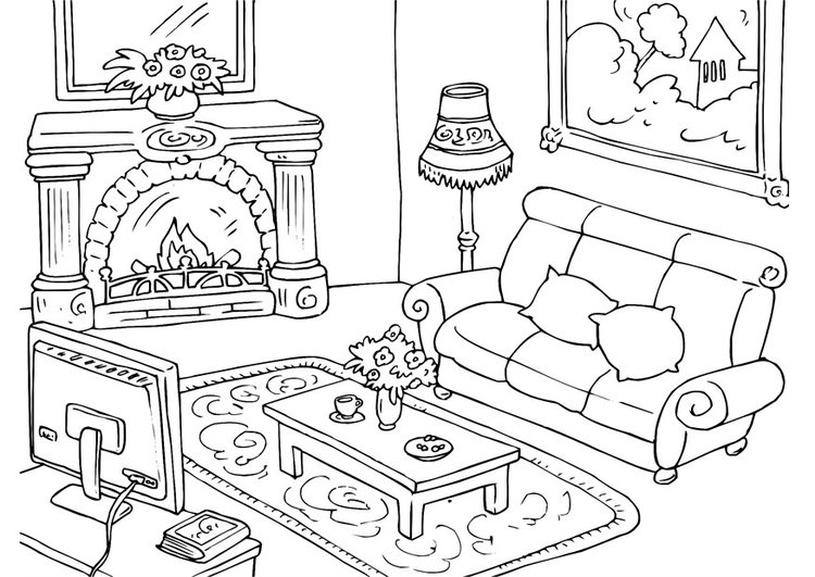 malvorlage wohnzimmer  kostenlose ausmalbilder zum