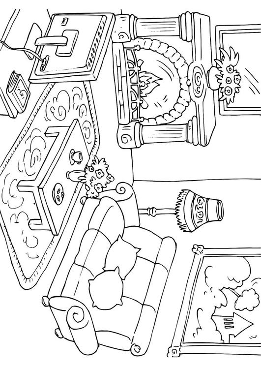 wohnzimmer zeichnung:Living Room Coloring Pages