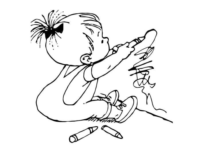 Malvorlage Zeichnendes Kleinkind Ausmalbild 11879 Images